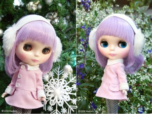 Photo of Lavender Hug Blythe posing in front of trees